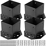 HOZEON 4 Pack Post Base 4 x 4 Inches, Heavy Duty Fence Post Bases with 16 PCS Expansion Screws and 32 PCS Screws, Thickened Wood Post Bases Brackets for Deck Porch Handrail Railing Support, Black