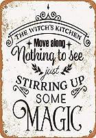 魔法をかき立てる魔女のキッチン メタルポスタレトロなポスタ安全標識壁パネル ティンサイン注意看板壁掛けプレート警告サイン絵図ショップ食料品ショッピングモールパーキングバークラブカフェレストラントイレ公共の場ギフト