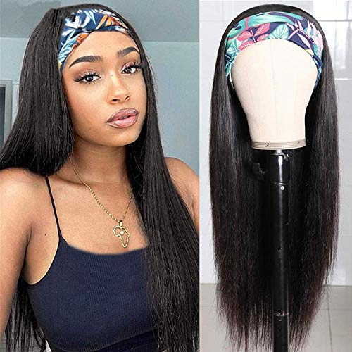 HzTinT Headband Wig Straight Long Synthetic Headband Wigs for Black Women Glueless Heat Resistant Fiber Natural Looking Wig 180% Density Friendly 24 inch