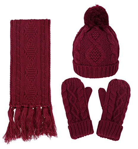 Women's Winter Warm 3PC Navy Cable Knit Gloves Scarf Beanie Hat Set, Red