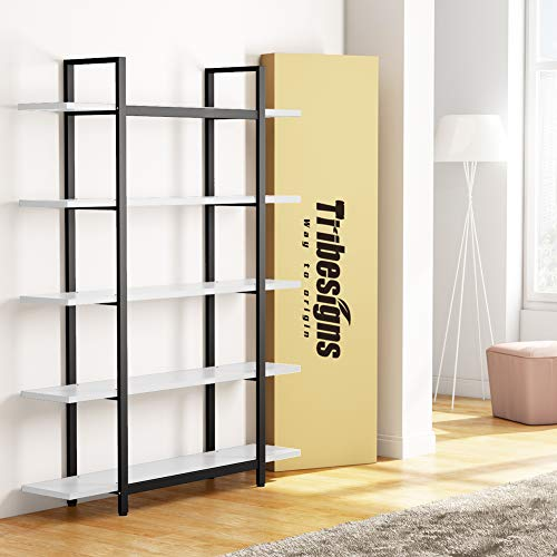 Tribesigns 5-Tier Bookshelf, Vintage Industrial Style Bookcase 72 H x 12 W x 47L Inches, White