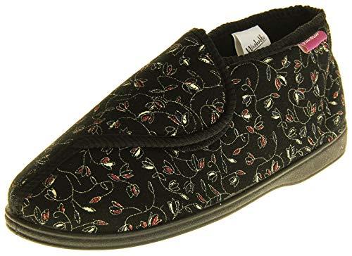Dunlop Donna Nero Pantofole di Fissaggio in A Strappo Ortopedica EU 38
