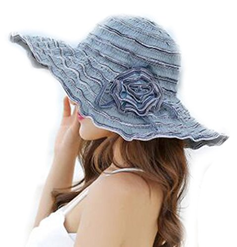 LOVEHATS Women Female Sun-Shading Hat Summer Sun Hat Anti-Uv Beach Cap Folding Large Brim Hat Adjustable Grey