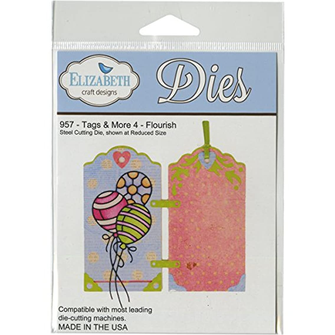 Elizabeth Craft Designs Tags and More-4 Steel Cutting Die, Flourish