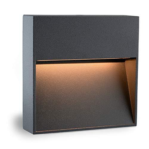 SSC-LUXon® LED Design Wandleuchte KEILA anthrazit eckig - Wand- & Treppenleuchte IP54 für Innen und Außen, 2W warmweiß 2700K
