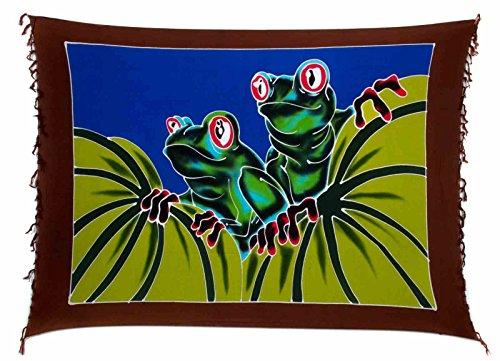 Ciffre Sarong Pareo Wickelrock Dhoti Lunghi Tuch Strandtuch Wandbehang Bali Frosch
