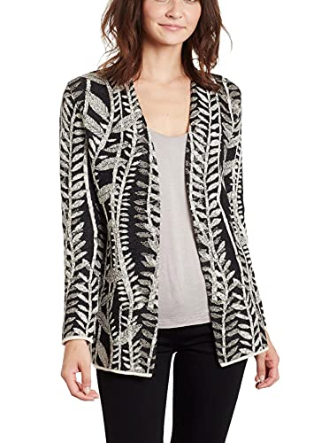 Invisible World Women's Baby Alpaca Wool Sweater Cardigan Open Jacket Medium Off White