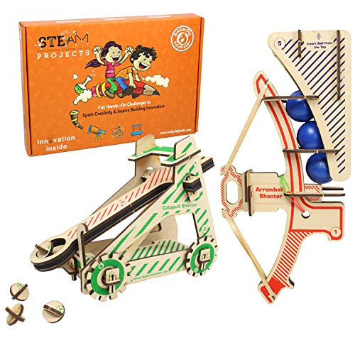 ButterflyEduFields STEM Construction Activity Toys for 7 8 9 10+ Years Boys Girls   2in1 DIY Catapult Guns Shooter Kit, Learning Educational Engineering Wooden Gift Set   Made in India STEM Toys