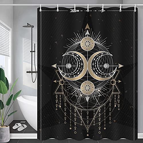 Constelación Tela Ducha Cortina de baño Rubor Sol Luna Abstracto misticismo Cortina de Ducha Tela Impermeable S.4 180x200cm