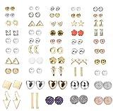 LOLIAS 49 Pairs Stud Earrings for Women Men Cute CZ Faux Pearl Geometric Arrow Bow CZ Ball Faux Pearl Earrings Set