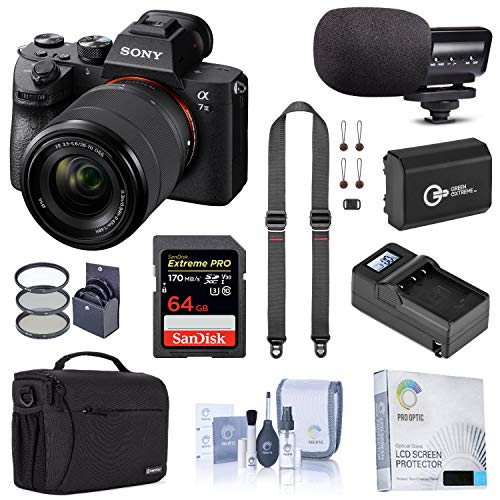 Sony Alpha a7 III Mirrorless Digital Camera with 28-70mm Lens Bundle with Bag, 64GB SD Card, Extra Battery, Smart Charger, Mic, Neck Strap and Accessories