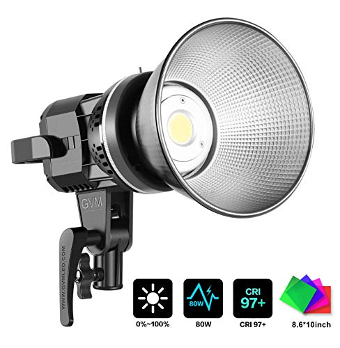 GVM LED Video Lights 80W CRI97+ 5600K Daylight Balanced Bowens Mount Led Continuous Video Light Shooting Light with Reflector for Video Recording,Wedding,Outdoor Shooting