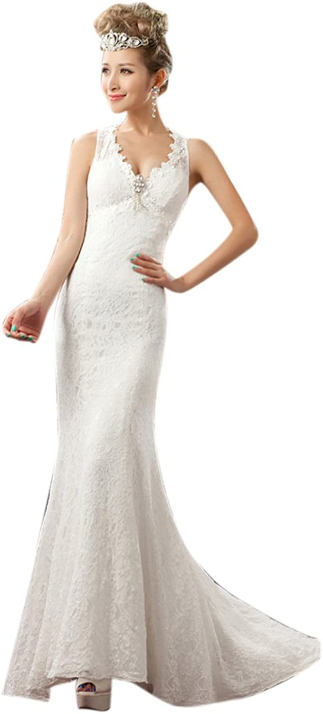 Dearta Women's Mermaid Trumpet VNeck Sweep Brush TrainLace Wedding Dresses