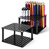 Stifthalter mit 96 Löchern, Acryl, Schreibtisch-Ständer, Organizer für Bleistifte, Pinsel, Marker, Display und Aufbewahrung für Zuhause, 2 Sets, Outus-Holder Desk-i8, schwarz