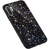 Uposao Custodia Compatibile con Samsung Galaxy Note 10 PRO,Glitter Diamante Custodia Cover Strass Shiny Brillantini Trasparente Silicone Gel Brillantini Bling Bumper TPU Case-Nero Glitter Stelle