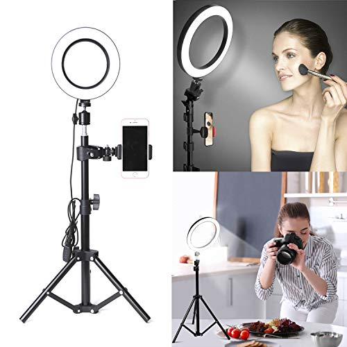 Ring Light with Stand and Phone Holder OEBLD Selfie Ring Light with Tripod for Video Photography Makeup Live Streaming YouTube Lighting (A(6.3''Ring Light & 20''Tripod))