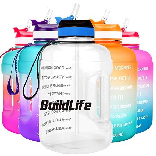 BuildLife Botella de agua motivadora de 2,2 l con pajita y marcador de tiempo para beber diariamente, sin BPA, reutilizable, para gimnasio, deportes, al aire libre, transparente, 2,2 l