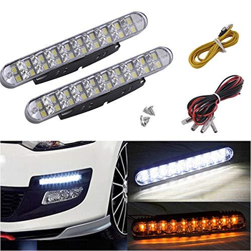 VAWAR LED Tagfahrlicht, dimmbare Tagfahrleuchten, 2x 30 LEDs, DC 12V, Weiss/Gelb Blinker