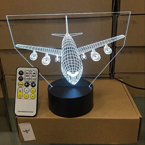Wfmhra Control Remoto Avión de Aire Luz 3D Lámpara de Mesa LED Ilusión óptica Bulbing Luz Nocturna 7 Colores Cambio de lámpara de Estado de ánimo Lámpara USB táctil