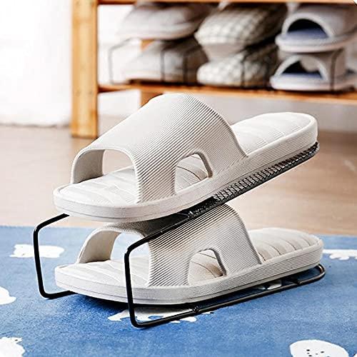 xingguang Zapatero de hierro con doble zapatero para armario, organizador de zapatos, estantes para calzado, suministros de almacenamiento para el hogar (color 1 unidad)