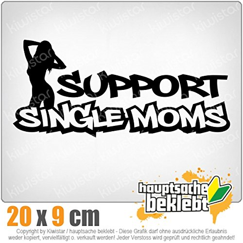 Support Single Moms 20 x 9 cm In 15 Farben - Neon + Chrom! JDM Sticker Aufkleber