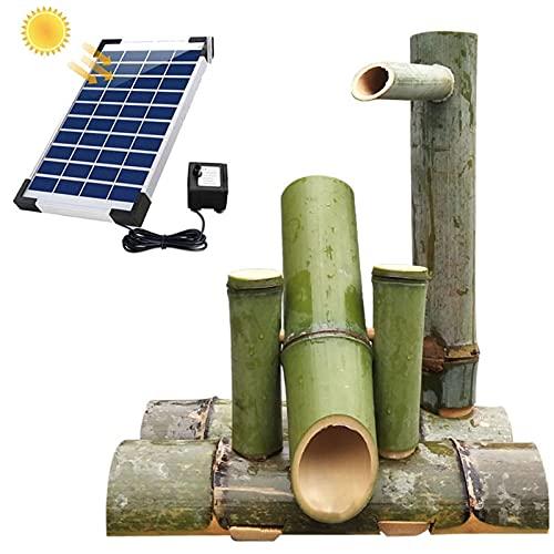 WYBF Fuente Jardin Exterior,Solar Jardín Fuente De Agua De Bambú Bomba Oscilante Paisaje del Agua Decoración Japonesa del Jardín Fuente Jardin,35cm