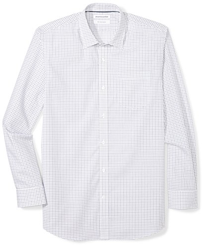 Amazon Essentials Regular-fit Wrinkle-Resistant Long-Sleeve Plaid Dress button-down-shirts, Blue Tattersall, 17.5