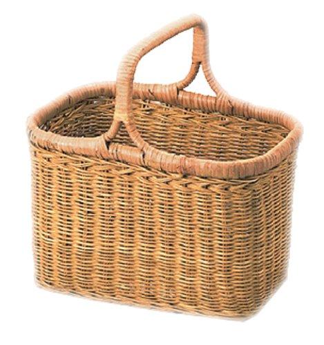 小物入れ ラタン 籐 バスケット バッグ かご カントリー 約27.5×19.5×19(28.5)cm 00-11