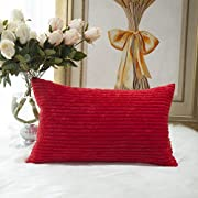 Home Brilliant Decorative Striped Corduroy Solid Cushion Cover Throw Oblong Pillowcase for Kids Toddler, 12 x 20, Red