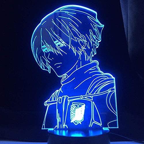 Lámpara de decoración de ilusión de luz de noche LED 3D Optical Kids Shingeki No Kyojin Anime Attack On Titan 4 Mikasa Ackerman Figura para dormitorio Niños Cumpleaños-Control remoto