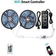 WenTop Waterproof LED Strip Lights, WiFi Wireless Smart Phone Controlled UL RGB LED Light Strip Kit 32.8ft(10M) 300leds LED Strip,Works with Android and iOS System,IFTTT,Google Assistant and Alexa