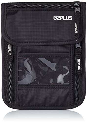 G2Plus collo, Travel Security Bag porta passaporto RFID Blocking denaro cintura nascosta Portafoglio nero Black