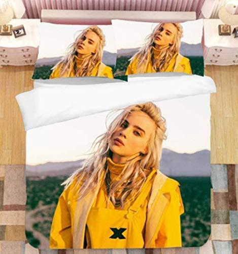 Billie Eilish 3D print pattern funda nórdica funda de almohada, niña, cantante profesional favorita de los adolescentes, modelo, la mejor ropa de cama para decorar el dormitorio-15_228 * 264cm3(pcs)