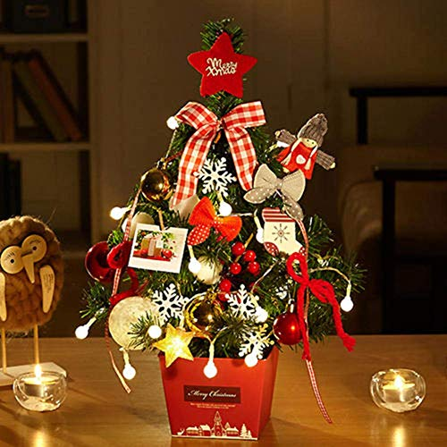 weiwei Table Christmas Tree with LED Lights Mini Christmas Tree with Hanging Ornaments Creative with Base Easy to Store for Room Decoration