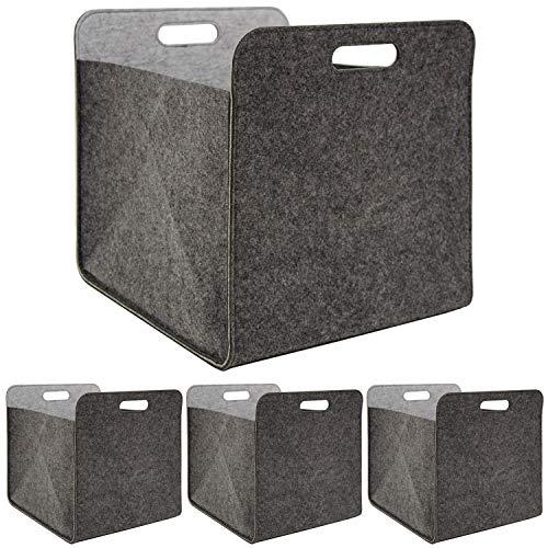 DuneDesign Juego de 4 cajas plegables de fieltro, 33 x 33 x 38 cm, para estantería Kallax, cesta para estanterías