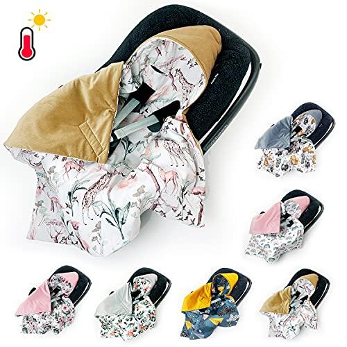 BABEES Manta envolvente para sillita de coche, primavera, verano, universal, por ejemplo, Maxi-Cosi Römer Cybex, Velvet Baby manta con cierre de velcro, fácil de transición