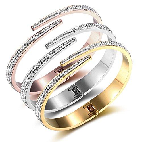 Edelstahl Armband Damenarmband rosegold gold silber schwarz Armreif Armspange