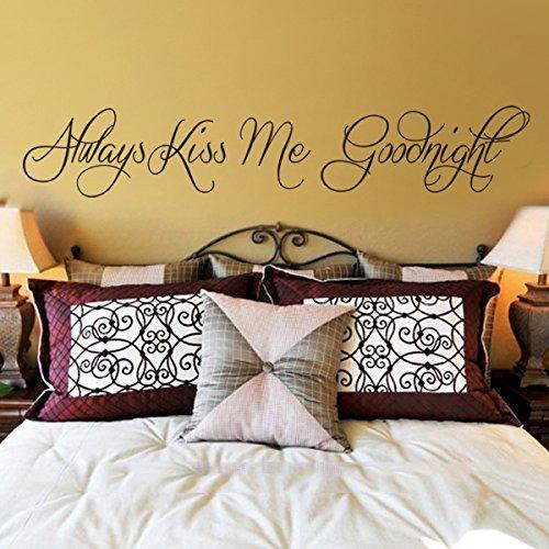 Siempre Kiss Me Goodnight dormir habitación pared vinilo adhesivo para cabecero de cama extraíble pegatinas, vinilo, Custom, 10'hx57'w