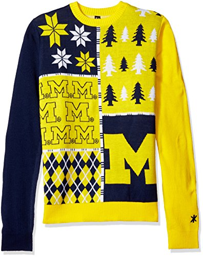 Klew NCAA Busy Block Sweater, Large, Michigan Wolverines