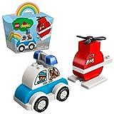 LEGO 10957 Duplo Mi Primer Helicóptero de Bomberos y Coche de Policía, Kit de Construcción, Juguete para Niños y Niñas a Partir de 1,5 Años