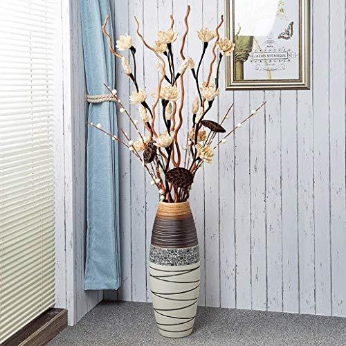 DYB Vase pour fleurs en céramique Grand sol créatif Décoration de salon Fake Flower Flower Office 60 x 13 cm