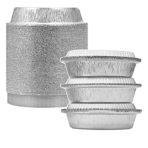 MESTAEK 7' Round Aluminum Foil Pans with Clear Lids (50 Pack), Heavy Duty Disposable Containers for Roasting, Storing, Baking, Cooking, Meal Prep & Reheating, Freezer Oven Microwave Safe, Recyclable