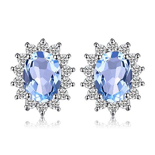 Jewelrypalace Principessa Diana William Kate 1.2ct Naturale Blu Topazio Halo Stud Orecchini 925 Sterling Argento