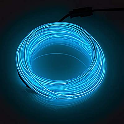 SZILBZ EL Wire, 5m Neon Light Battery Powered Electroluminescent Wire Glowing Strobing Decorative Light for Xmas Party Pub (5m Blue)