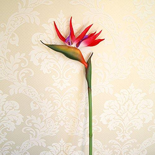 ZJJJH Kunstmatige decoratieve bloemen, namaakbloem, kunstbloemen, voor de woonkamer, vloer, bloem, plaatsing simulatie van paradijsvogel, kunststof boeket, afzonderlijke bloemen, rood. TTN kunstbloem.