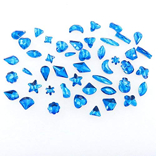 Formes mélanger 50 pcs/sac Lt Sapphire couleur flatback verre Cristal strass applique colle sur pour nail art handimade Craft diy trim, Lt Sapphire, 50Pcs