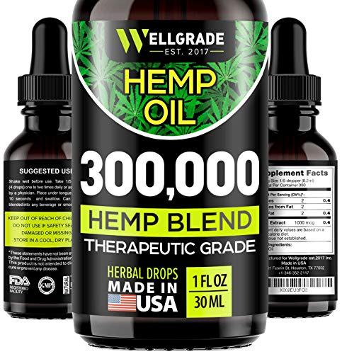 Hemp Oil 300,000 - Stress & Anxiety Relief - 100% Natural Dietary Supplement for Immune Support - Rich in Omega 3, 6, 9 Fatty Acids - Helps with Sleep, Skin & Hair, Improve Health - Vegan Friendly