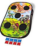 ImpiriLux Dinosaur Bean Bag Toss Set | One Double Sided 3  x 2  Foldable Target with Eight Bean Bags for Indoor and Outdoor Play | Kids Cornhole Game for Boys and Girls