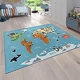 Paco Home Kinder-Teppich, Spiel-Teppich Für Kinderzimmer, Weltkarte Mit Tieren, In Grün, Grösse:80x150 cm