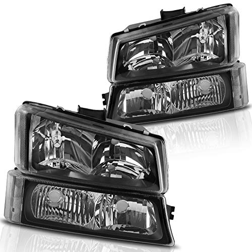 AUTOSAVER88 Headlight Assembly kit Compatible with 2003-2006 Chevy Avalanche / 2003-2007 Chevrolet Silverado 1500 2500 3500 1500HD 2500HD Pickup,Headlamp Replacement, Black Housing with Bumper Lamp